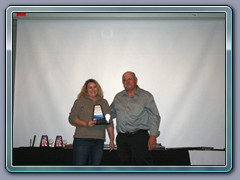 Mr. Grease Monkey of The Year, George Abshire. Michele accepting his award. (2)